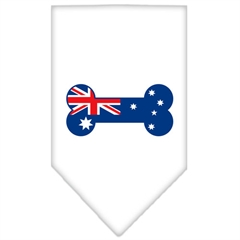 Mirage Pet Products Bone Flag Australian  Screen Print Bandana White Large