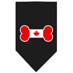 Mirage Pet Products Bone Flag Canadian  Screen Print Bandana Black Small