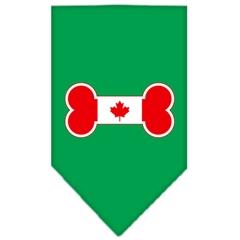 Mirage Pet Products Bone Flag Canadian  Screen Print Bandana Emerald Green Small