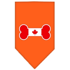 Mirage Pet Products Bone Flag Canadian  Screen Print Bandana Orange Large