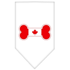 Mirage Pet Products Bone Flag Canadian  Screen Print Bandana White Small