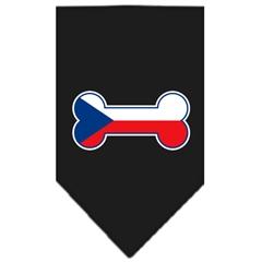 Mirage Pet Products Bone Flag Czech Republic  Screen Print Bandana Black Small