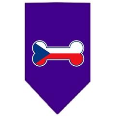 Mirage Pet Products Bone Flag Czech Republic  Screen Print Bandana Purple Large