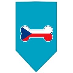 Mirage Pet Products Bone Flag Czech Republic  Screen Print Bandana Turquoise Small