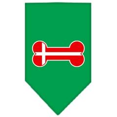 Mirage Pet Products Bone Flag Denmark  Screen Print Bandana Emerald Green Small