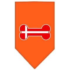 Mirage Pet Products Bone Flag Denmark  Screen Print Bandana Orange Large