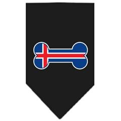 Mirage Pet Products Bone Flag Iceland  Screen Print Bandana Black Large