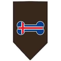 Mirage Pet Products Bone Flag Iceland  Screen Print Bandana Cocoa Large