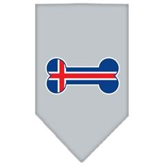 Mirage Pet Products Bone Flag Iceland  Screen Print Bandana Grey Small