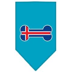 Mirage Pet Products Bone Flag Iceland  Screen Print Bandana Turquoise Large