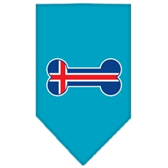 Mirage Pet Products Bone Flag Iceland  Screen Print Bandana Turquoise Small