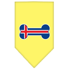 Mirage Pet Products Bone Flag Iceland  Screen Print Bandana Yellow Large
