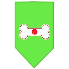 Mirage Pet Products Bone Flag Japan  Screen Print Bandana Lime Green Large