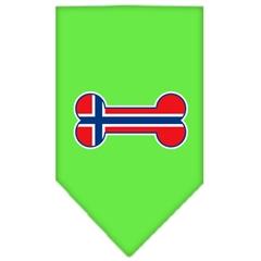 Mirage Pet Products Bone Flag Norway  Screen Print Bandana Lime Green Large