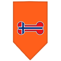 Mirage Pet Products Bone Flag Norway  Screen Print Bandana Orange Large