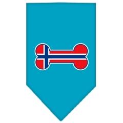 Mirage Pet Products Bone Flag Norway  Screen Print Bandana Turquoise Small