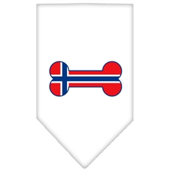 Mirage Pet Products Bone Flag Norway  Screen Print Bandana White Large