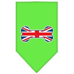 Mirage Pet Products Bone Flag UK  Screen Print Bandana Lime Green Large