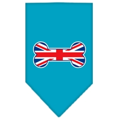 Mirage Pet Products Bone Flag UK  Screen Print Bandana Turquoise Small