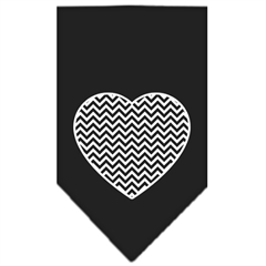 Mirage Pet Products Chevron Heart Screen Print Bandana Black Large
