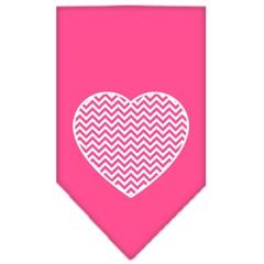 Mirage Pet Products Chevron Heart Screen Print Bandana Bright Pink Large