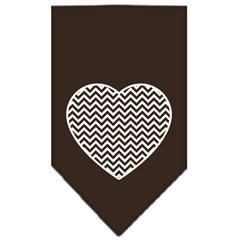 Mirage Pet Products Chevron Heart Screen Print Bandana Brown Large