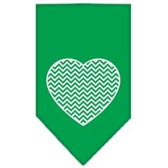 Mirage Pet Products Chevron Heart Screen Print Bandana Emerald Green Large
