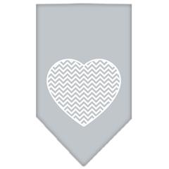 Mirage Pet Products Chevron Heart Screen Print Bandana Grey Large