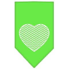 Mirage Pet Products Chevron Heart Screen Print Bandana Lime Green Small