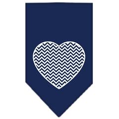 Mirage Pet Products Chevron Heart Screen Print Bandana Navy Blue Small