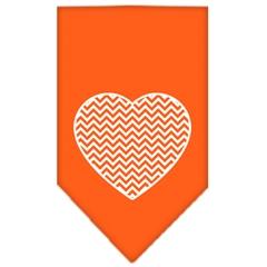 Mirage Pet Products Chevron Heart Screen Print Bandana Orange Small