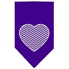 Mirage Pet Products Chevron Heart Screen Print Bandana Purple Large