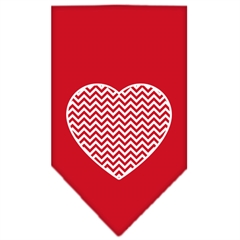 Mirage Pet Products Chevron Heart Screen Print Bandana Red Small