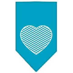 Mirage Pet Products Chevron Heart Screen Print Bandana Turquoise Large