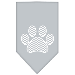 Mirage Pet Products Chevron Paw Screen Print Bandana Grey Large