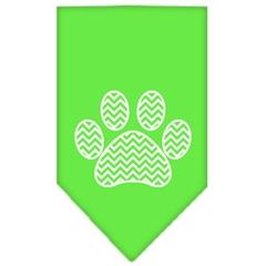 Mirage Pet Products Chevron Paw Screen Print Bandana Lime Green Large