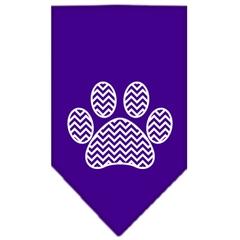 Mirage Pet Products Chevron Paw Screen Print Bandana Purple Large
