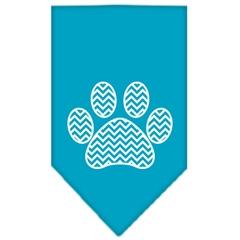 Mirage Pet Products Chevron Paw Screen Print Bandana Turquoise Large