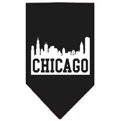 Mirage Pet Products Chicago Skyline Screen Print Bandana Black Large