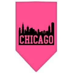 Mirage Pet Products Chicago Skyline Screen Print Bandana Bright Pink Large