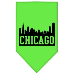 Mirage Pet Products Chicago Skyline Screen Print Bandana Lime Green Large