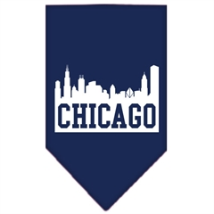 Mirage Pet Products Chicago Skyline Screen Print Bandana Navy Blue large