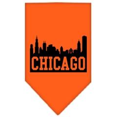 Mirage Pet Products Chicago Skyline Screen Print Bandana Orange Large