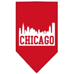 Mirage Pet Products Chicago Skyline Screen Print Bandana Red Small
