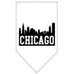 Mirage Pet Products Chicago Skyline Screen Print Bandana White Large