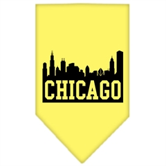 Mirage Pet Products Chicago Skyline Screen Print Bandana Yellow Large
