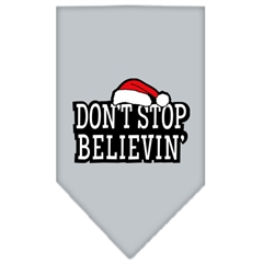 Mirage Pet Products Dont Stop Believin Screen Print Bandana Grey Large