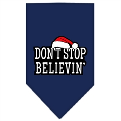 Mirage Pet Products Dont Stop Believin Screen Print Bandana Navy Blue large