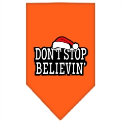 Mirage Pet Products Dont Stop Believin Screen Print Bandana Orange Large