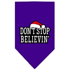Mirage Pet Products Dont Stop Believin Screen Print Bandana Purple Small